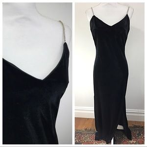 Vintage 90s velvet prom dress sequin strap